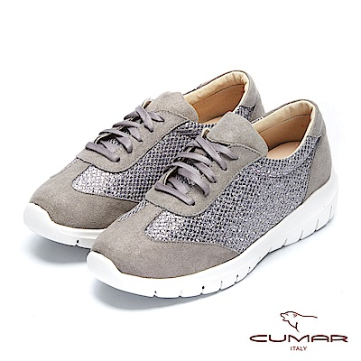 【CUMAR】簡約步調 - 閃耀金蔥布異材拼接休閒平底鞋