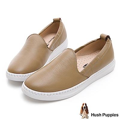 Hush Puppies Kite 可水洗牛皮懶人鞋-卡其