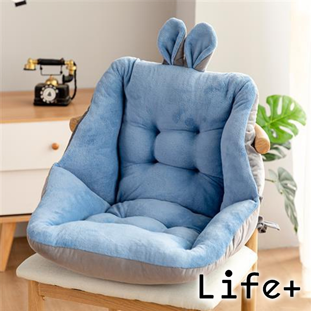 Life+ 童趣絨毛拚色保暖加厚護腰坐墊/靠墊(淺藍)