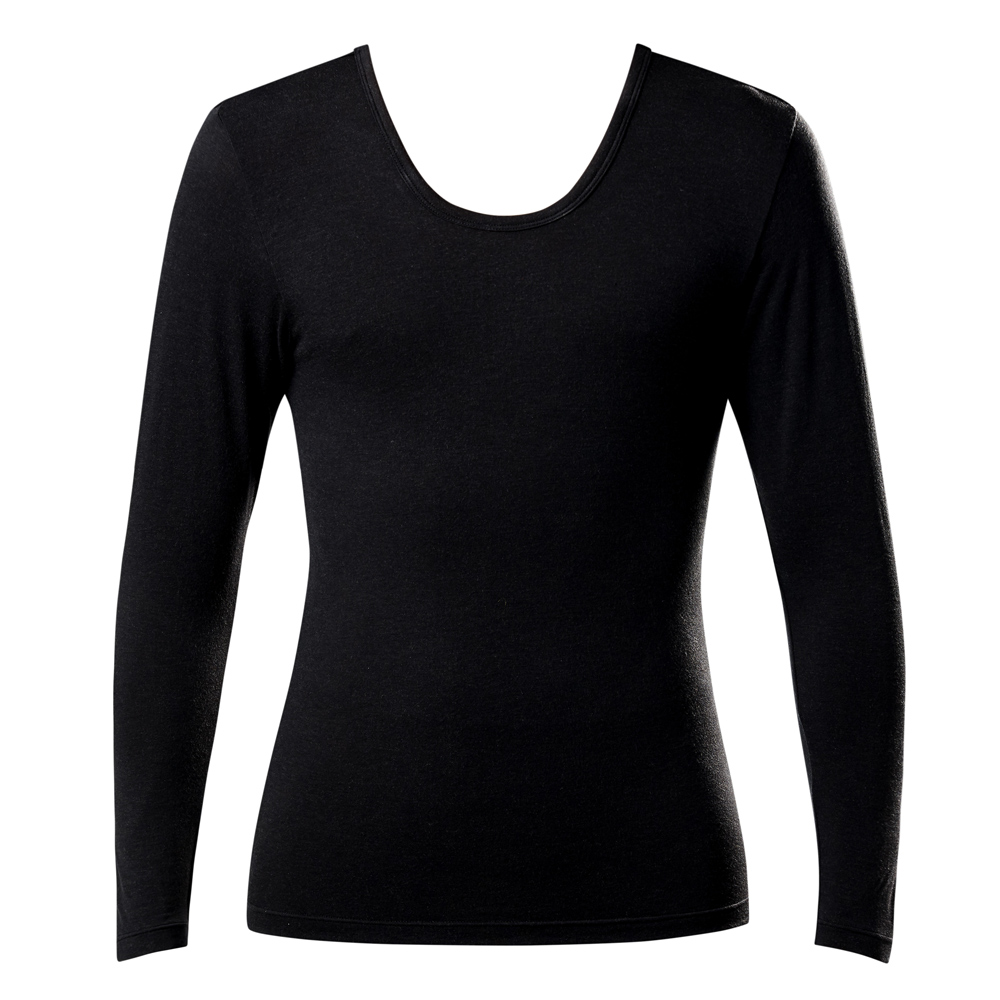 DADADO-極衣恆溫紗素面M-LL U領長袖保暖衣上衣(黑)