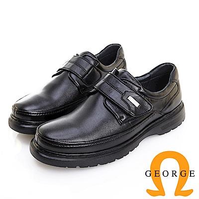 GEORGE 喬治皮鞋 輕量系列 圓頭素面黏帶氣墊鞋 -黑