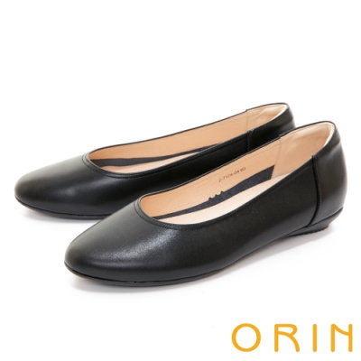 ORIN 百搭素面真皮 女 平底鞋 黑色