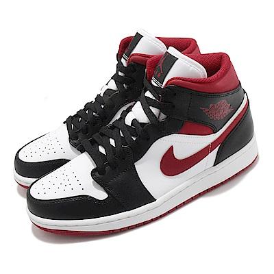 Nike 休閒鞋 Air Jordan 1代 Mid 男鞋 Metallic Red 喬丹 黑頭 黑 白 紅 554724122