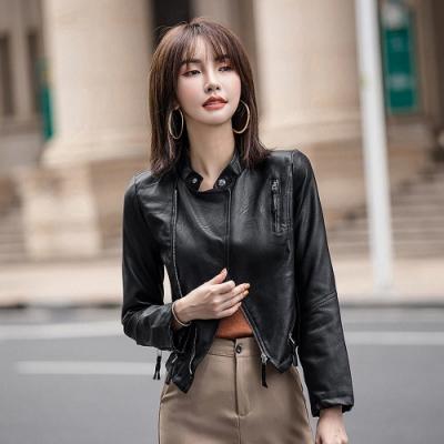 帥氣時髦立領拉鍊短版黑皮衣外套S-XL-WHATDAY