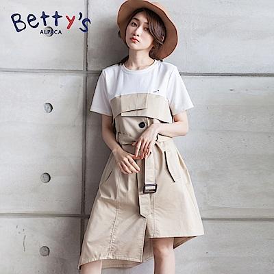 betty's貝蒂思 異材質拼接排釦洋裝(卡其)