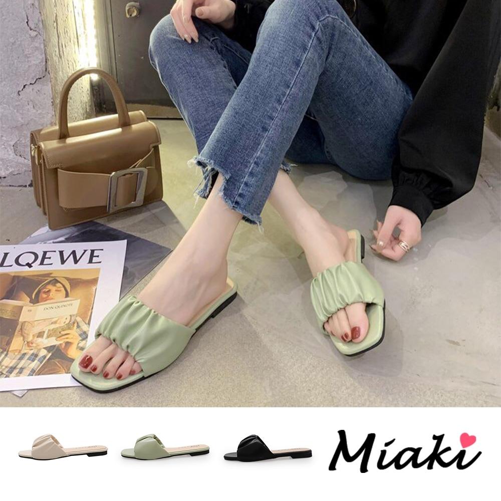Miaki-拖鞋韓風甜心方頭平底涼拖 product image 1