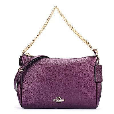 COACH 馬車LOGO金屬荔枝紋皮革鏈帶肩背/斜背兩用包-莓紫色