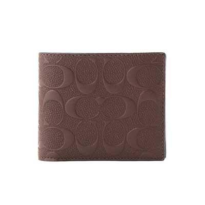COACH 經典浮雕花紋男用短夾附可拆式證件夾(深棕色)