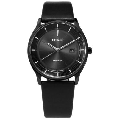 CITIZEN 光動能 極簡主義 礦石強化玻璃 日本機芯 牛皮手錶-黑色/40mm