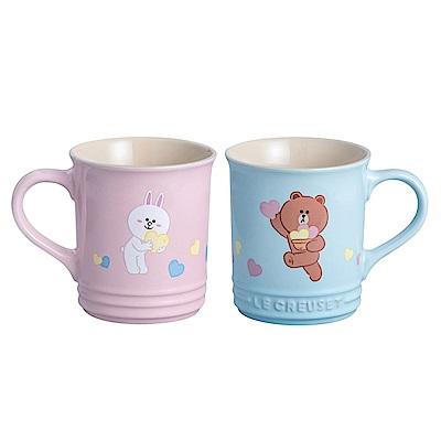 LE CREUSET x LINE FRIENDS 瓷器咖啡杯2入(海岸藍/雪紡粉)