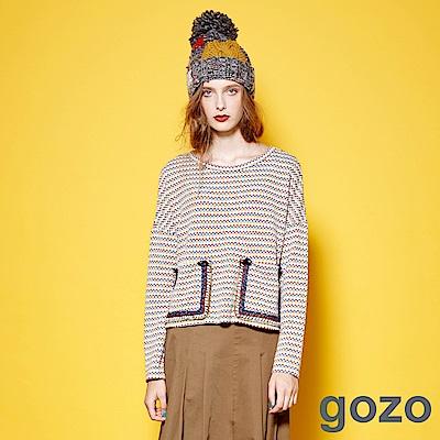 【時時樂限定】gozo 馬賽克藝術雙口袋編織上衣(二色)