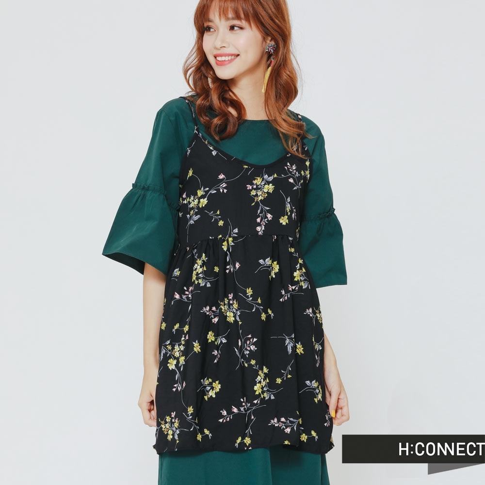 H:CONNECT 韓國品牌 女裝 - 細肩花朵短洋裝 - 黑 (快)