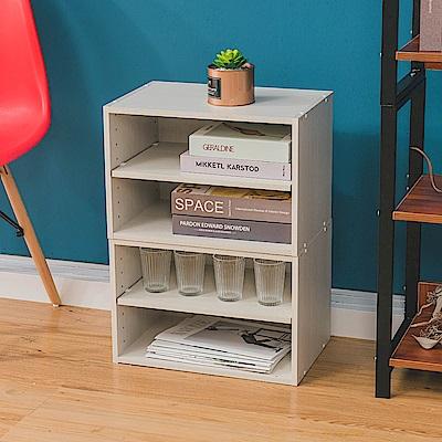 樂嫚妮 DIY 日式 二層收納櫃/空櫃/書櫃-層板可抽-木紋白色2入組-42X28.2X28.8cm