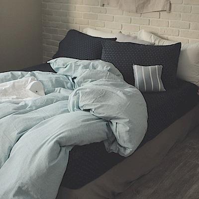 翔仔居家 新疆棉系列 / 加大被套床包四件組- 十字丈青x細條藍 台灣製