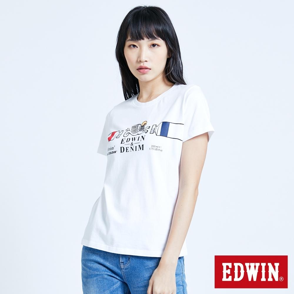 EDWIN 塗鴉系列 怪獸LOGO短袖T恤-女-白色