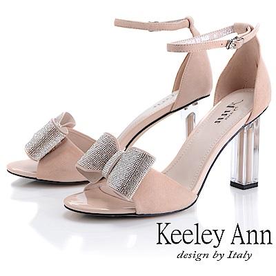 Keeley Ann氣質名媛 立體水鑽蝴蝶結粗跟鞋(裸色-Ann系列)