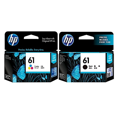 惠普 HP CH561WA 黑色+CH562WA 彩色 (NO.61)  原廠墨水匣