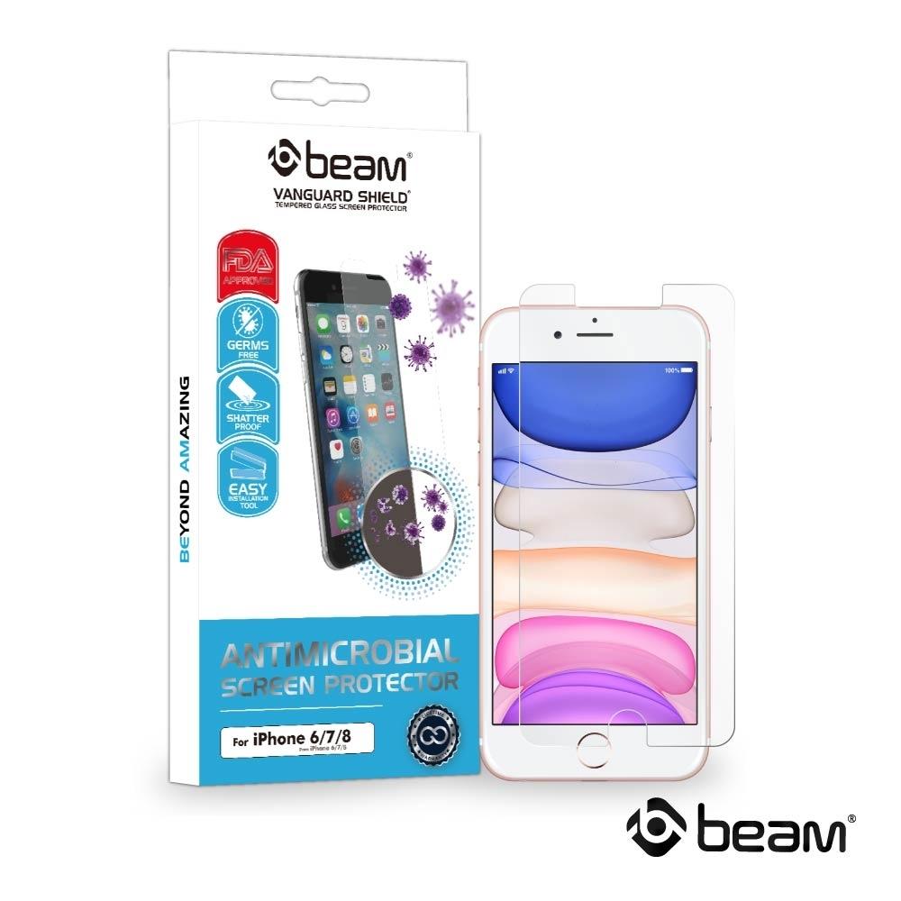 【BEAM】 iPhone 8/7/6/6s 抗病菌耐衝擊鋼化玻璃保護貼