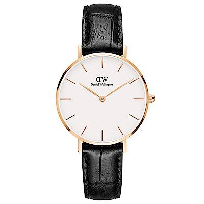 DW手錶 官方旗艦店 32mm玫瑰金框 Classic Petite 爵士黑真皮皮革 @ Y!購物