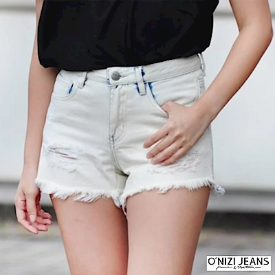 ONIZI 割破牛仔短褲-女-白