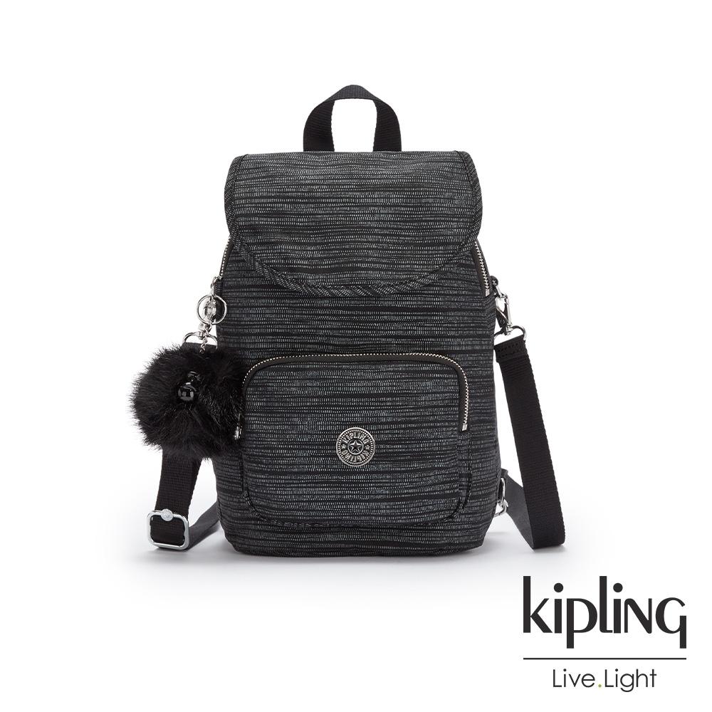 Kipling 沉穩十字條紋拉鍊後背包-CARAF