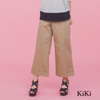 【KiKi】舒適休閒寬褲口-長褲(二色)