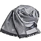 EMPORIO ARMANI 義大利製字母老鷹LOGO圖騰高質感羊毛圍巾(灰色系)