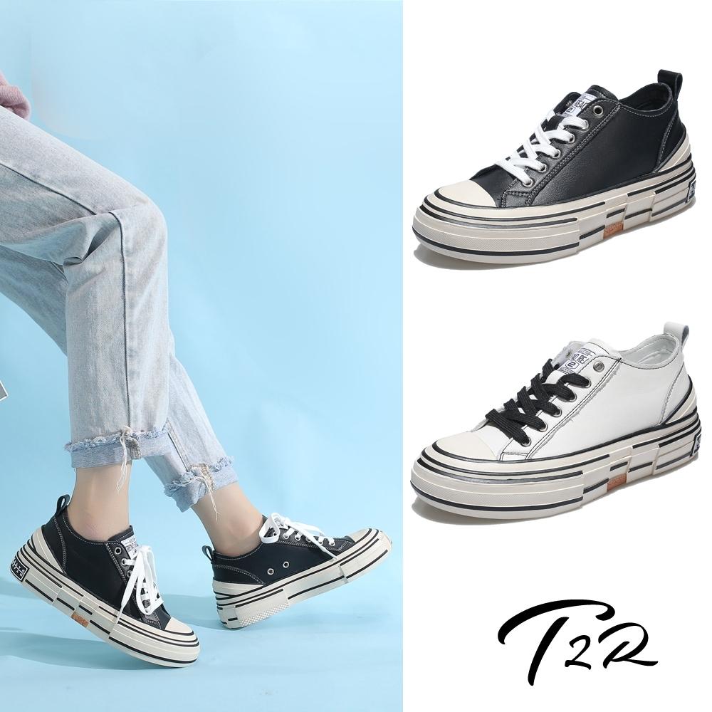T2R-正韓空運-增高鞋真皮不規則設計帆布鞋小白鞋隱形增高鞋-增高6公分-黑/白