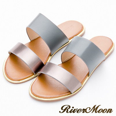 River&Moon大尺碼-韓版金屬雙寬帶金邊涼拖鞋-灰系