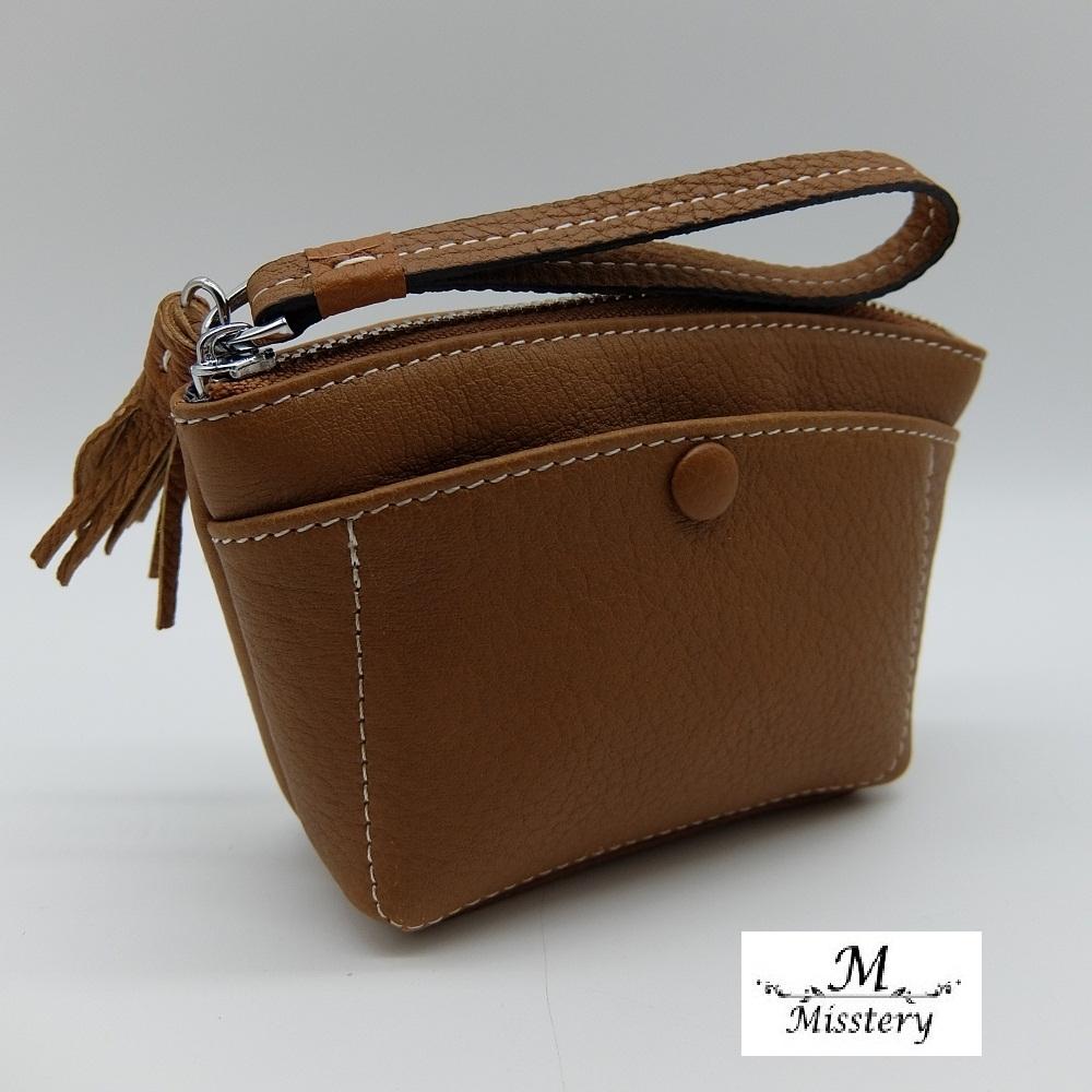 【Misstery】零錢包進口牛皮小巧零錢包-棕(進口牛皮款式)