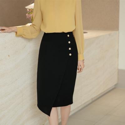 設計所在Lady-不規則雪紡高腰中長版素色百搭包臀裙(三色S-2XL可選)