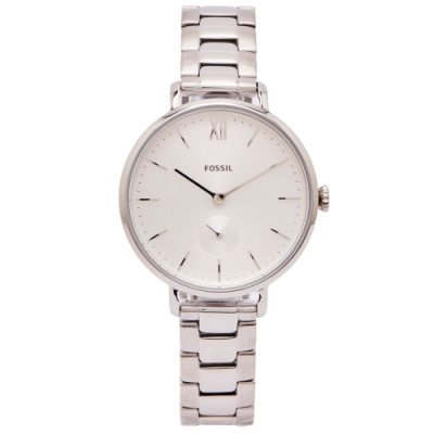 FOSSIL Kalya 銀色小秒針盤款式手錶(ES4666)-銀面X銀色/36mm