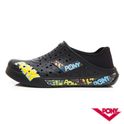 【PONY】ENJOY懶人後跟輕量透氣兩用洞洞鞋 拖鞋 雨鞋 男女 塗鴉黑