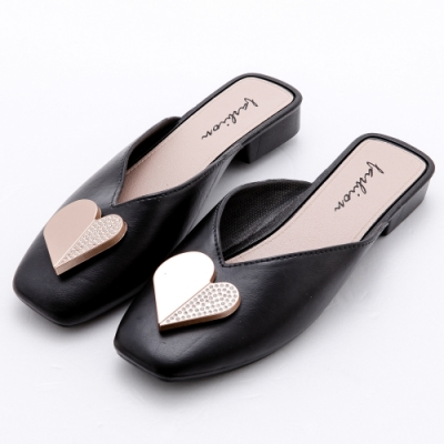 River&Moon防水鞋 心鑽V口方頭低跟穆勒鞋 黑