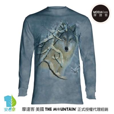 摩達客 美國進口The Mountain 雪狼凝視 純棉長袖T恤