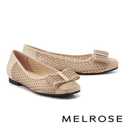 低跟鞋 MELROSE 氣質迷人蝴蝶結水鑽透膚方頭低跟鞋-粉