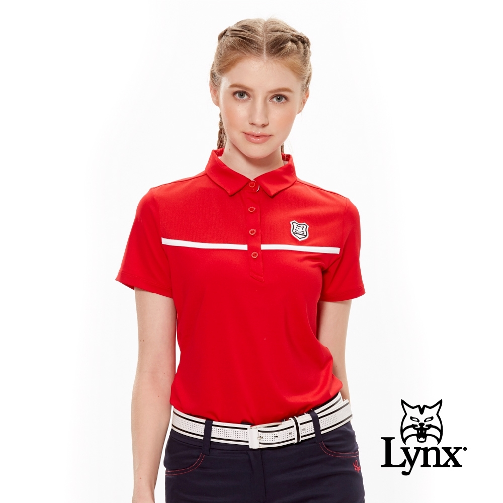 【Lynx Golf】女款抗UV透氣布料剪接盾型Logo短袖POLO衫-紅色