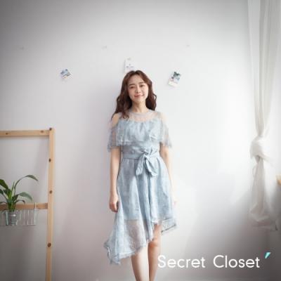 Secret Closet-雙層透視蕾絲無袖洋裝-藍色