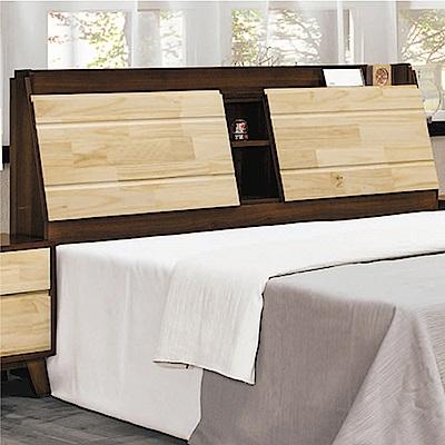 文創集 吉娜雙色5尺實木雙人床頭箱(不含床底)-152.7x27x108cm免組