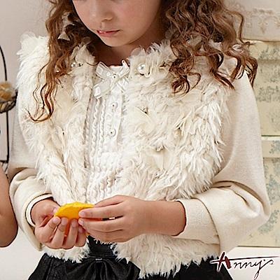 Annys高級毛料珍珠網紗蕾絲外套*2272米白