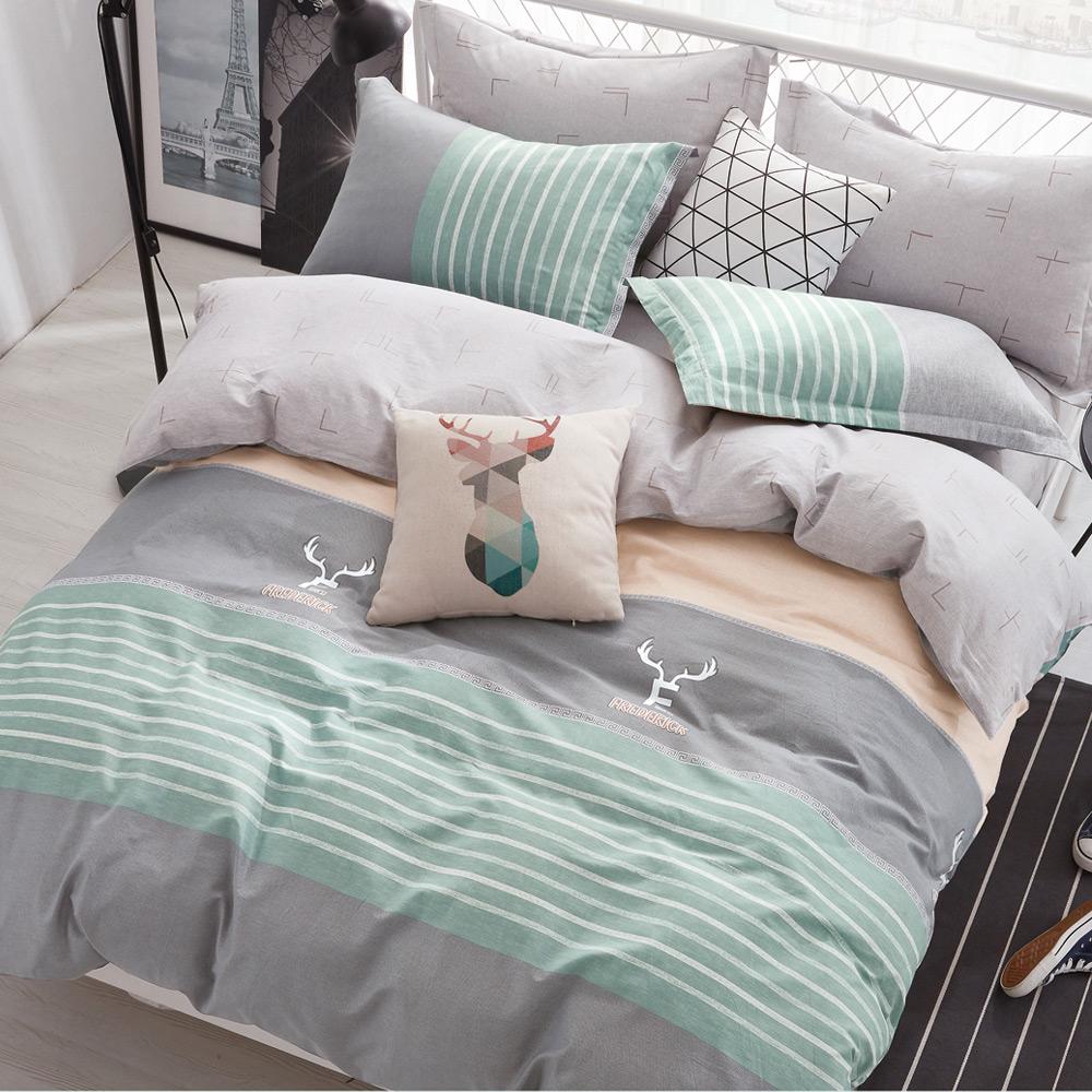 La lune 100%台灣製40支寬幅精梳純棉單人床包雙人被套三件組 田澤湖畔