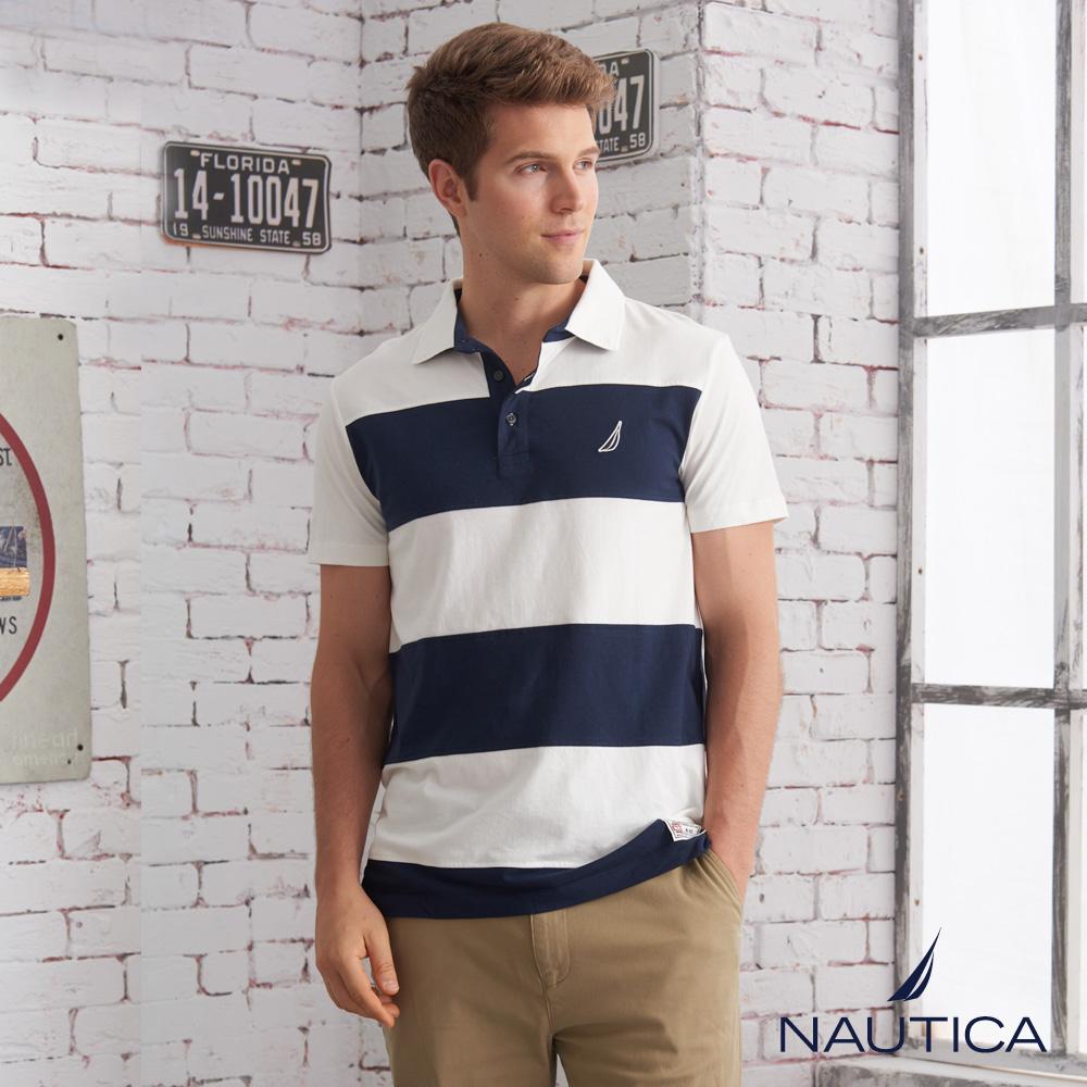 Nautica 經典撞色條紋短袖POLO衫-白色