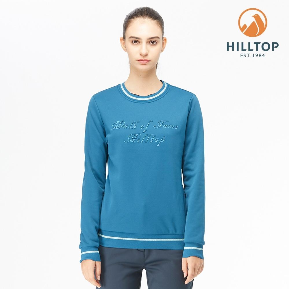 【hilltop山頂鳥】女款POLYGIENE抗菌金蔥繡花圓領刷毛上衣H51FJ8摩洛哥藍