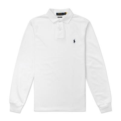 Polo Ralph Lauren 年度熱銷刺繡小馬長袖POLO衫(CUSTOM SLIM FIT)-白色