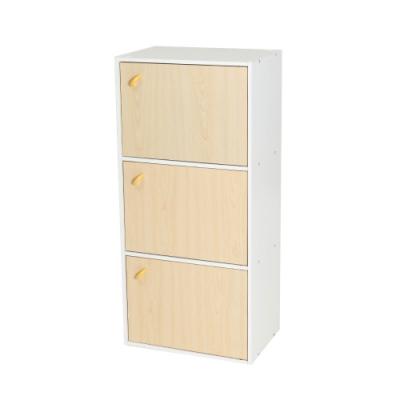 樂嫚妮 三層櫃/附門書櫃/三格櫃/書櫃/置物櫃/收納櫃-白色櫃體-寬41.8深30高90.1cm