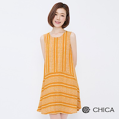 CHICA 空靈文青幾何圖騰拼接背心洋裝(2色)