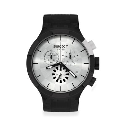 SWATCH BIG BOLD系列手錶CHEQUERED SILVER 銀色空間(47mm)