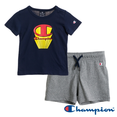 Champion EU小童短袖套裝 深藍x灰