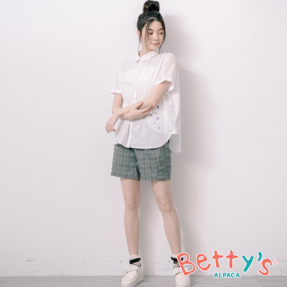 betty's貝蒂思 文藝風格紋配色短褲(深藍)
