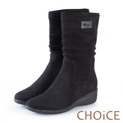 CHOiCE 簡約率性 2穿絨布中筒靴-黑色